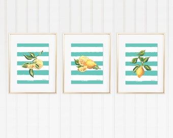 Lemon Wall Art Bundle,Lemon Art Print Set, Lemon Illustration, Citrus Fruit Print, Fruit Wall Print, Lemon Kitchen Decor, Picture Of Lemon
