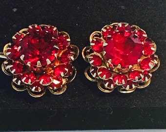 Red Rhinestones in gold tone setting clip earrings