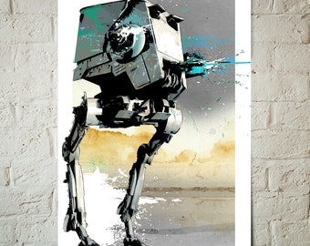 Star Wars Poster - AT-ST Scout Walker - Star Wars Art, Art Print, Star Wars Print, fan art Illustration, Star Wars gift idea, watercolor art