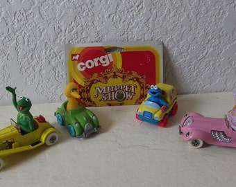Sesame Street Muppet Characters, Miss Piggy, Kermit, Big Bird and Cookie Monster in Die-Cast vehicles.1970s, 80s and 90s