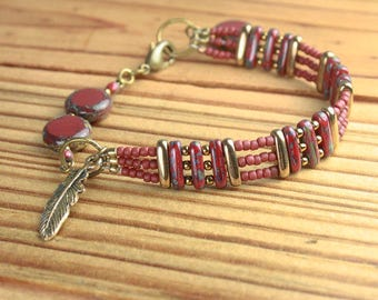 BRACELET with MATCHING NECKLACE and Earrings Available Red, Ivory, Brass