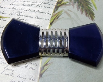 Navy Blue Bow Tie Shaped Coat Clasp or Belt Buckle   NDT34