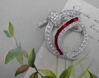 Vintage Signed Silver PELL Circle Pin w/ Red Bagette Rhinestones Brooch    OM39