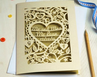 Personalised Papercut Heart Wedding Card, Mr and Mrs Laser Cut Date Card with Initials, Anniversary Card, Paper Cut Card, sku_heart_wedding