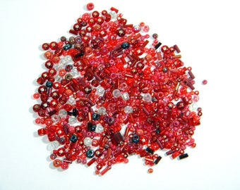 Red Glass Bead Mix - Candy Apple - Various Sizes - 20 grams