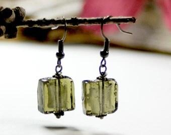 Gray green glass foil drop earrings