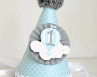 Baby Blue and Grey Hot Air Balloon Party Hat | Up Up and Away | Clouds | Birthday Party hats | First Birthday | Flying High Party | Boy
