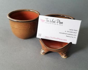 Desk Set Footed Desktop Business Card Holder and Small Jar Handmade in Iron Red