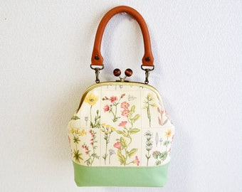 2 WAY frame bag - Cottage Floral fabric with medium weight cotton in light green - handbag, shoulder bag, crossbody bag, real leather handle