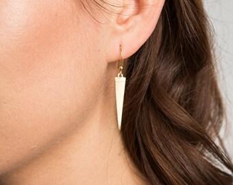 Triangle Earrings // Geometric Earrings // Geometric Jewelry // Dangle, Long Earrings // Gold Earrings // Girlfriend Earrings