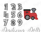 Train Applique & Train Track Number Set Machine Embroidery Design Numbers 0-9 Digital Files INSTANT DOWNLOAD