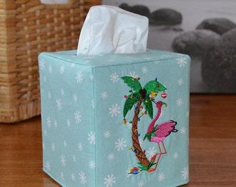 Merry Palm Tree Christmas Tissue Box Cover