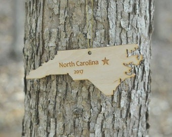 Natural Wood North Carolina State Ornament WITH 2017