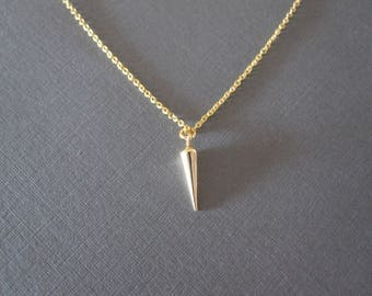 Gold Small Spike Necklace