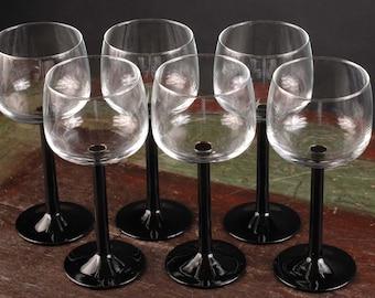 Black Stemmed Arcoroc Luminarc Wine Glasses, France
