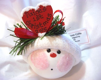 Baby's 1st First Christmas Ornament 2017 Personalized Pink Blue Red Heart Hand Painted Handmade Themed by Townsend Custom Gifts - F