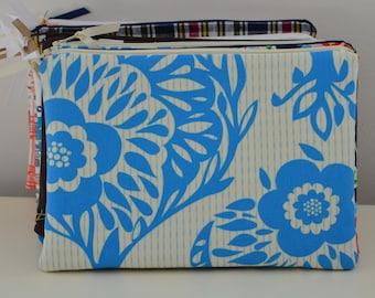 Zipper Pouch in Bouquet - cosmetic bag travel case diaper bag organizer medium blue flowers ipad mini kindle toiletry gift set