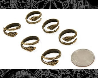 Six Antique Brass Snake Rings * RING-AB14