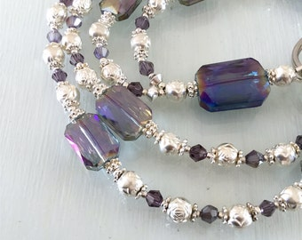 Silver Rose Beads and Purple Crystal ID Lanyard