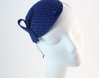 Cobalt Fascinator with Veil and Simple Bow