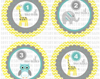 Monthly onesie baby stickers yellow Giraffe Owl Elephant Chevron themed first year stickers - Months 1-12 - Print on your own