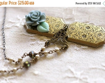 30% OFF CHRISTMAS SALE Rectangular bronze floral etched locket with Shakespeare text inside, dusty blue-grey flower on front, pearl bead acc