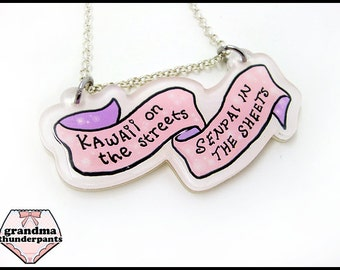Kawaii on the Streets, Senpai in the Sheets Necklace, Kawaii, Senpai Jewelry, Pink, Pastel Senpai