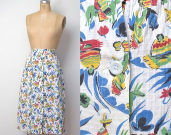 1930s Mexican Novelty Print Skirt / 30s 40s Cotton Skirt