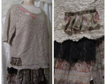 Bohemian Lace Top, refashioned womens lace shirt, altered couture clothing, taupe lace shirt, shabby romantic clothes, XXL LARGE 2X
