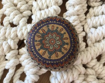 Spirit Stone Mandala Painted Stone Natural Rock Paperweight m