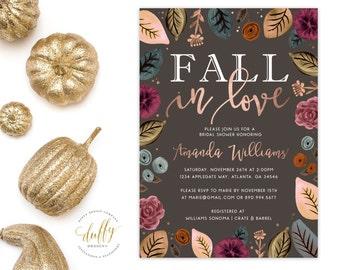 Bridal Shower Invitation, Fall in Love Bridal Shower Invitation, Fall Wedding Shower Invite, Wedding Shower 5x7 Printable Invite GRAY