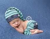 Newborn boy pants and sleepy hat set (Sam) - photography prop - blue, aqua, teal, turquoise, navy, white