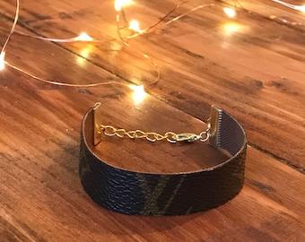 Louis Vuitton Bracelet made from vintage Louis Vuitton handbag canvas.