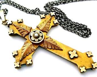 Large Vintage Cross Necklace