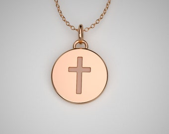 Tiny rose gold cross necklace available in 14k, 18k Solid Gold & Platinum. TINY TALISMANS™ Line of Spiritual Jewelry.
