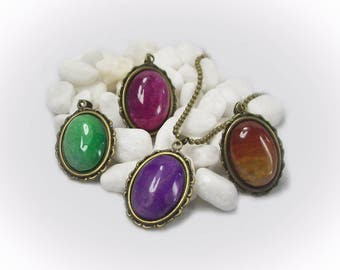 Changeable Pendant Changeable Gemstone Necklace Dragon Vein Agate Ball Chain Necklace Bronze Necklace Large Pendant - 12120