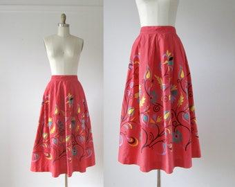 Rum Punch / 50s skirt / vintage 1950s novelty print skirt