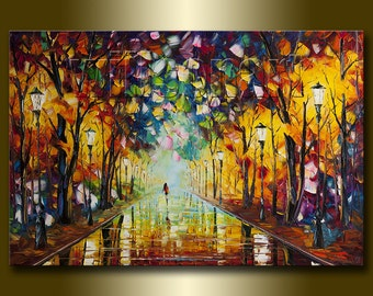 Original Textured Palette Knife Landscape Painting Oil on Canvas Contemporary Modern Art Rainy Night 24X36 by Willson Lau