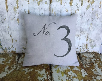 No. Number Pillow / Square Cotton Farmhouse Style Vintage Printed Throw Pillow Farmhouse Cottage Rustic Home Decor