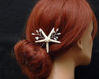 Beach Wedding Hair Pins Destination Wedding Starfish Bobby Pin, Bridal Pearl Headpiece, Mermaid Headpiece, Nautical Wedding Accessories