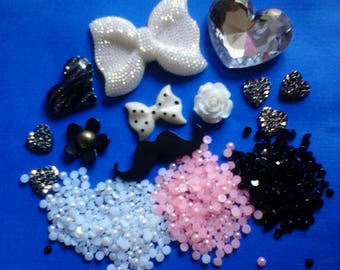 kawaii decoden deco diy charm black and white cabochon kit  # 517--USA seller