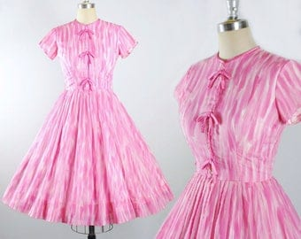 Vintage 50s Dress / 1950s CHIFFON Gradient Raspberry Pink Oranza Watercolor Cocktail Evening Party Full Swing Skirt Pinup Sundress S Small