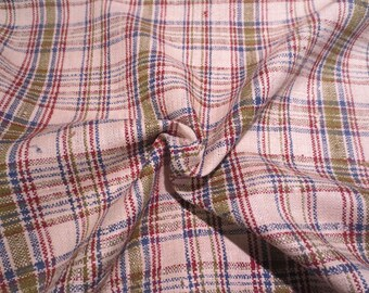 Avocado Green and Blue on Beige Plaid Raw Pure Silk Suiting Fabric--By the Yard