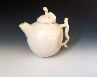 White Porcelain Teapot, Whimsicsl Teapot, Handmade Teapot and Filter, Teapot with Filter