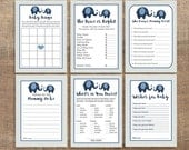Navy Elephant Baby Shower Games Package, Six Printable Baby Shower Games Bundle, Navy Elephant Grey Chevron, Baby Boy,  INSTANT DOWNLOAD
