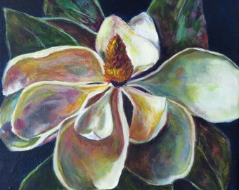 Magnolia flower bloom southern plant tree Giclee print on canvas of original oil painting  by Sandra Cutrer Fine Art
