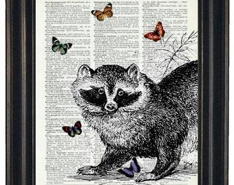 BOGO SALE Wall Decor Raccoon Dictionary Art Print Raccoon and Butterflies Print HHP Original Design Raccoon Wall Art