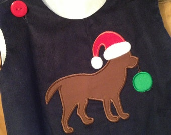 Boys Christmas Dog longall by Gigibabies, toddler navy corduroy