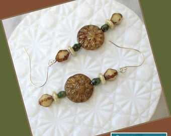 Tan and Green Czech Glass Earrings, Sterling Silver Earrings, Beaded Jewelry, Rustic Earrings, Earthy Brown Beige Earrings, Woodland Style