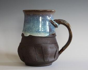 Coffee mug pottery, 14 oz, handthrown ceramic mug, stoneware pottery mug, unique coffee mug